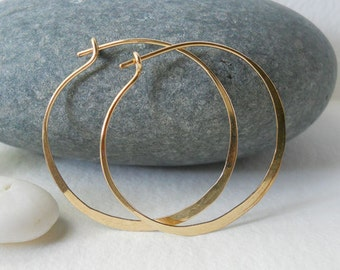 1 1/2 Inch 14K Solid Gold Hammered Endless Hoops (18 gauge) Bright Finish Large Sized Hoops