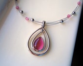 Vintage Pink and Silver Necklace, Rose Necklace
