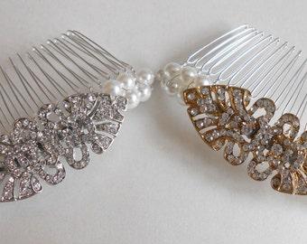 Art Deco Pearl and Rhinestone Bridal Hair Comb