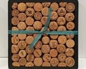 UpcycledChampagne Cork (wine cork) Trivet with wooden base - Black