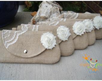 Burlap Clutch - Satin Clutch -  Bridesmaid Clutches - Pouch - Formal - Wedding - Boutique - chevron clutch
