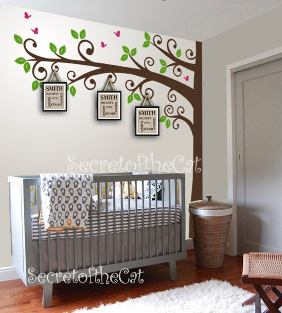 Nursery wall decal corner tree wall decal wall decal tree - Stickers arbres chambre bebe ...