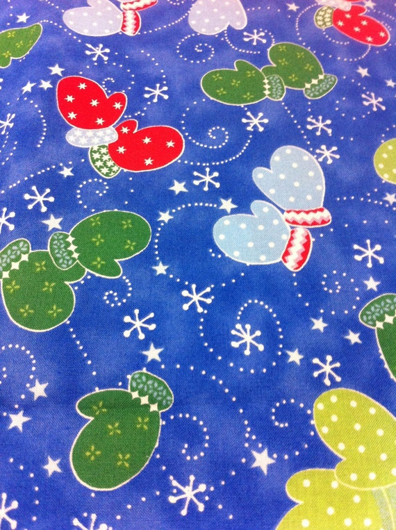 Snow Day Mittens Cotton Fabric Sewing Craft Supplies Home Decor Quilting Seasonal Print