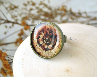Antique rosette ring from resin - brown ring, tribal jewelry, gift for her for girl, boho, black, yellow - ready to ship