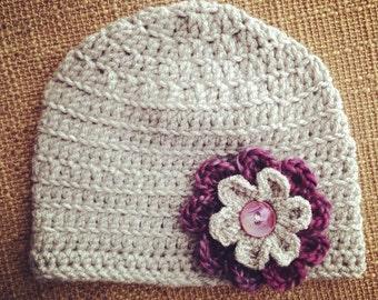 Gray and Purple crochet Flower Beanie Hat