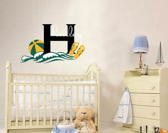 Beachy Theme Name Decal Monogram - Personalized wall stickers