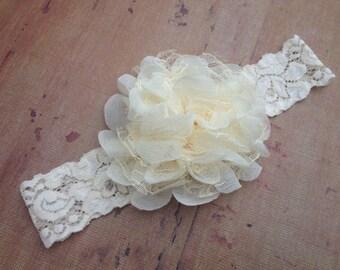 Ivory Chiffon and Lace Flower Headband, Newborn, Baby, Child, Flower Girl