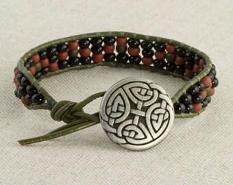 Bead and Leather Bracelet Terra Red Black Green Celtic Boho Southwestern