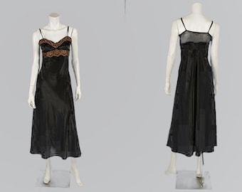 Flora Nikrooz Nightgown -  Black Satin  Lace Sleepwear  Vintage 80s Trousseau