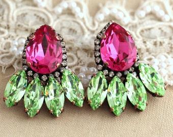 Fuchsia Pink Green statement  earrings, Swarovski  earrings, Bridal earrings, Antique copper plating, Fuchsia chandelier Halo earrings.