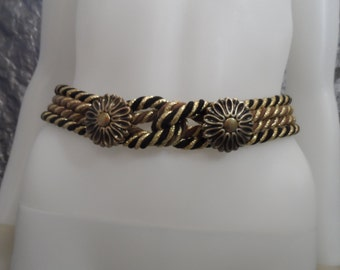 Vintage 70's Glam Metallic Gold Rope Belt  S/M