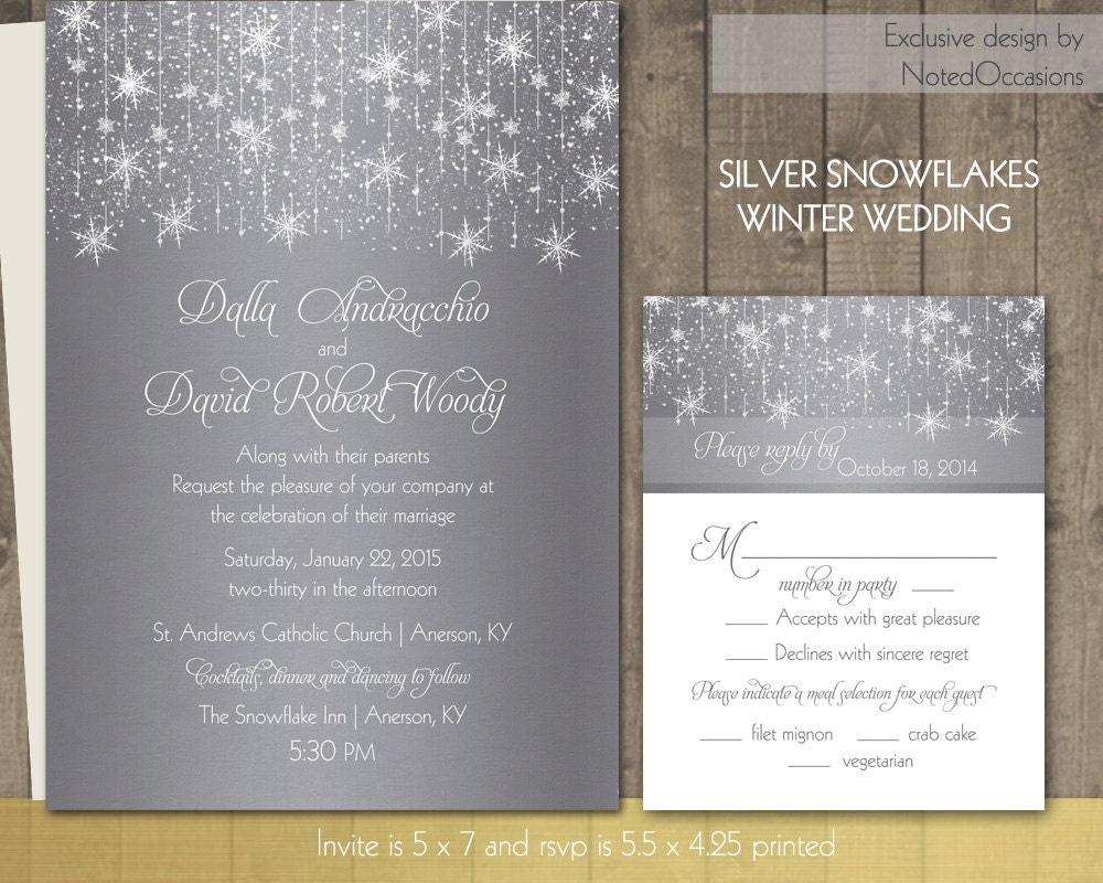 Winter Wedding Invitation Wording: Winter Wedding Invitations Silver Snowflake By NotedOccasions