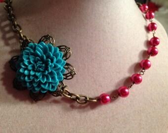 Statement necklace - Pink & Teal Jewelry - Flower Pendant Jewellery - Brass Chain - Funky - Mod - Boho