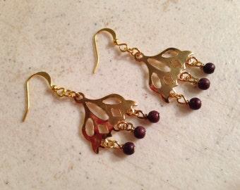 Brown Earrings - Chandelier - Gold Jewellery - Beaded Jewelry - Fashion - Mod - Turquoise - Gemstone