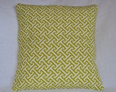 30% OFF!! Designer Lime Green and White Woven Graphic Pattern Greek Key Pillow Cover 16x16