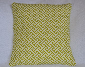 CLEARANCE!! Designer Lime Green and White Woven Graphic Pattern Greek Key Pillow Cover 16x16