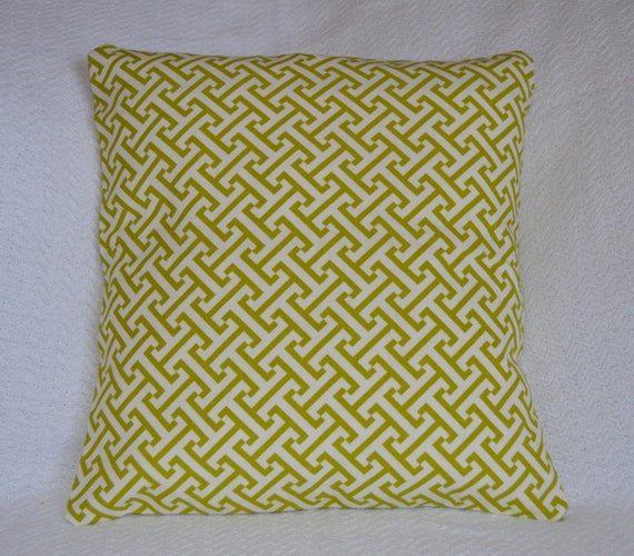Designer Lime Green and White Woven Graphic Pattern Greek Key Pillow Cover 16x16