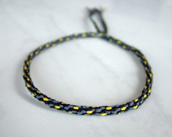 Woven Surfer Style Cord - String - Bracelet - Grey - Yellow - Durable / Hand Knotted by fig&fig