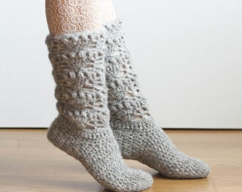CROCHET PATTERN instant download - Tread Softly Socks - grey gray beautiful gorgeous cozy Christmas socks lace stockings tutorial PDF