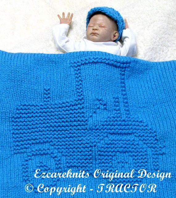 Knitting Pattern With Tractor Motif : TRACTOR Blanket Knitting Pattern - PDF from ezcareknits on Etsy Studio