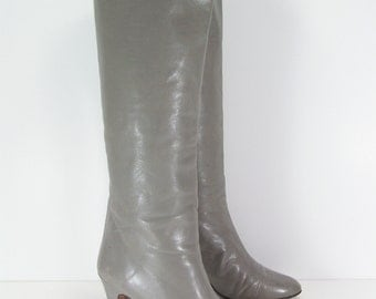 chantal knee high boots womens 7 euro 37.5 N gray stiletto heel leather fashion italy