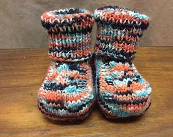 Knitted Baby Booties - Newborn Size - Black/Orange/Blue Variegated