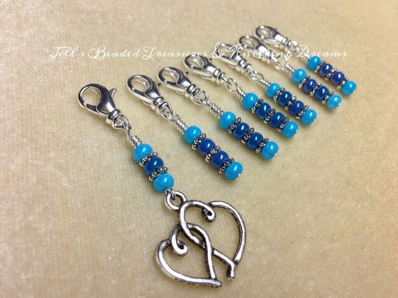 Crochet Stitch Markers- Double Heart- Beaded Removable Stitch Markers ...
