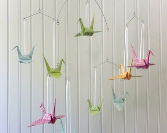 BIG WHEELS - Baby Mobile or Garland - NEW Chalk Series White Doodles on Bright Multi Colored Origami Cranes