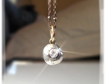 BALL 'n CHAIN Minimalist Mixed Metal Petite Pendant . Silver Misshapen Oxidized Orb Necklace . Cubic Zirconium, ONE of a Kind