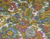 Antique Cotton Floral Design Fabric, Rose, Tan, Green Yardage 36 1/2 Inch Width x 1 Yard, 4 Avail