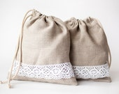 Linen bread bag - Linen laundry bag - Drawstring bag - bread bag - Linen lace gift bag - Lingerie travel bag