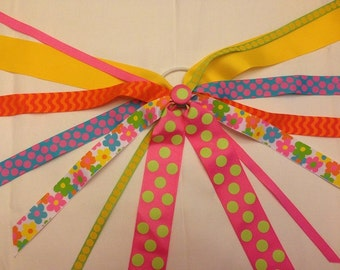 CLEARANCE!!! One of a Kind Ponytail Streamer in BRIGHT DAISIES with coordinating colors