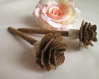 SALE - Set of 2 Burlap Guest Book Pens with Burlap Flower and Lace Accent, Rustic Wedding Decoration, Rustic Wedding Reception Decoration
