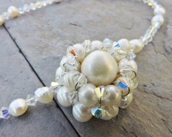 Wedding Dream/ Bride/ Bridesmaids/  White Cultured Freshwater Pearl, Clear AB Swarovski Bicone Asymmetric Wire Wrapped Flower OOAK Necklace