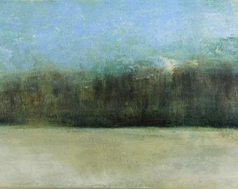 "Nature art impressionism tress GICLEE PRINT nature art print green and blue home decor landscape art ""An Early Winter"""