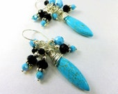 Blue Turquoise, Black and Sterling Silver Multi-Dangle Wire Wrapped Beaded Earrings in all sterling silver