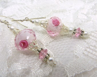 Pale Pink & Pink Rose Lampwork Glass  Earrings with Swarovski and Pearls
