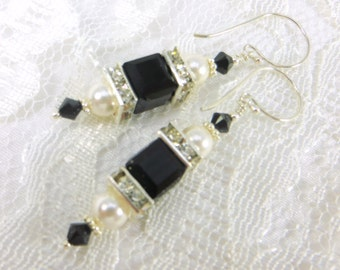 Swarovski Cube Earrings in Black and White Pearl on Bali Sterling Silver Earring Wires