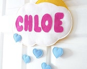 Personalised Kid's Door or Wall cloud and hearts name plaque hanger