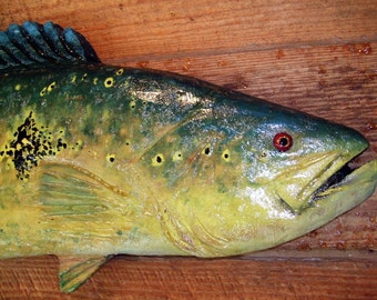 """Orinoco Peacock Bass 28"""" unique chainsaw wooden bass carving taxidermy amazon cichla fish sculpture rustic wall mount Todd Lynd original art"""