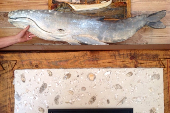 Gray whale chainsaw wood carving realistic by oceanarts