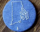Rhode Island - Recycled Fabric Magnet - Blue RI