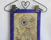 Monster Mash Cute Mummy Hanging Mini-Quilt