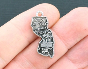10 State of New Jersey Charms Antique Silver Tone - SC3951