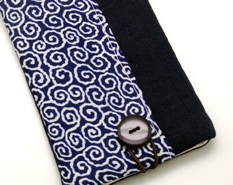 6P iPhone sleeve, iPhone pouch, Samsung Galaxy S3, S4, Galaxy note, cell phone, ipod classic touch sleeve - Dark blue and white Pattern
