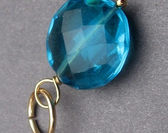 Blue Quartz Coin Disc Gemstone 14K Gold Fill Wire Wrapped Pendant Dangle Charm Stones D