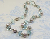 Pearl Necklace w Aquamarine, Beautiful Finest Faceted Aquamarine with Rosy Mauve Freshwater Pearls and 925 Wirewrapped Sterling Silver