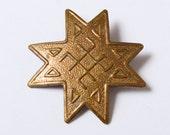Vintage small brooch, ethnic symbol Auseklis.