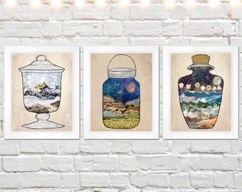 set of three prints, art print set, terrarium jar art, mixed media collage art, wall art set, rustic nature art