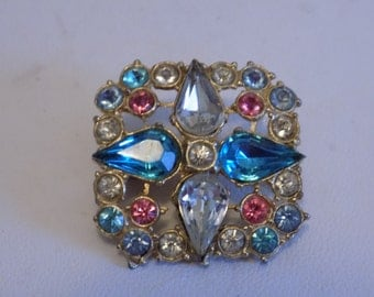 Vintage brooch, multicolor star design brooch, 1950s retro brooch, vintage jewelry, retro jewelry